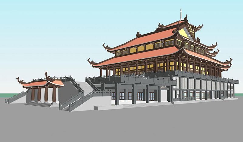 Thiết kế kiến trúc, kết cấu Chánh Điện trung tâm Phật Giáo Việt Nam (Bình Chánh)